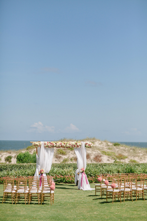 Pink and White Outdoor Wedding Ceremony