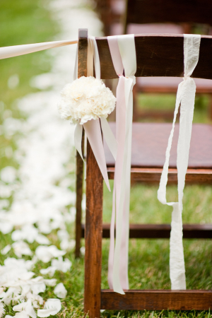 Pink and White Ribbons and Flowers Aisle Decor