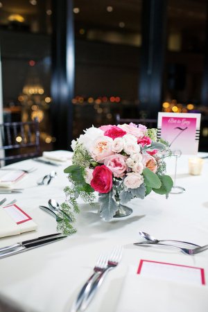 Pink and White Rose Reception Arrangement