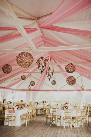 Pink and White Tent Reception With Chandeliers