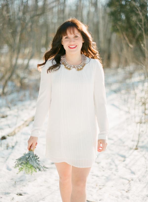 Pleated Cream Bridesmaids Dress