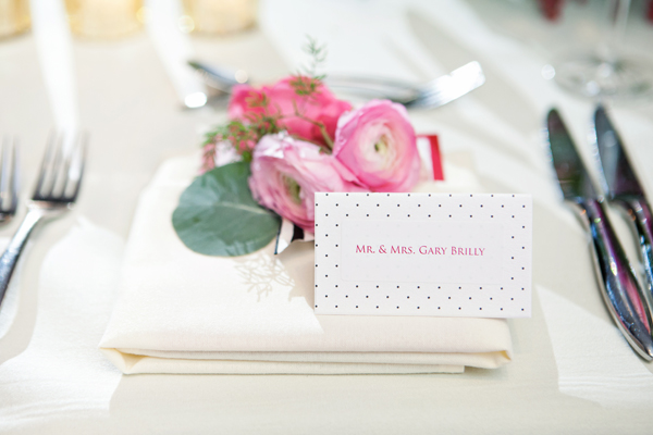 Polka Dot Reception Place Cards