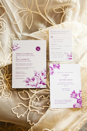 Purple Floral and Cream Wedding Stationery