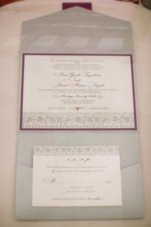 Purple and Blue Gray Floral Wedding Invitation