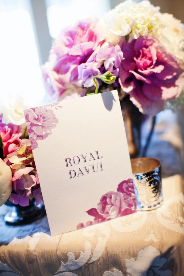 Purple and Cream Floral Reception Decor