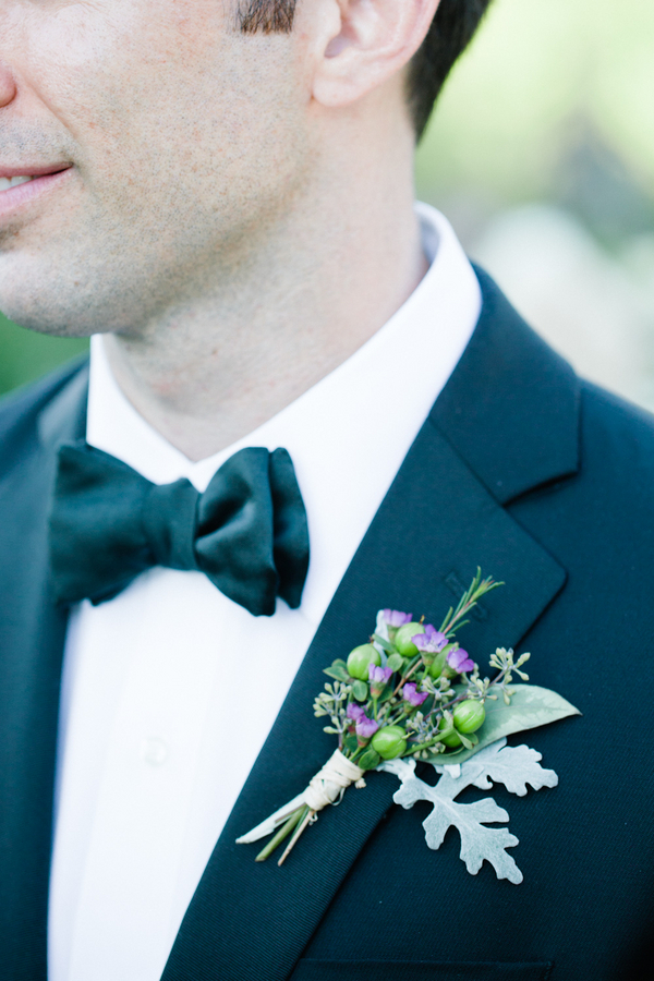 Purple and Green Berry Boutonniere