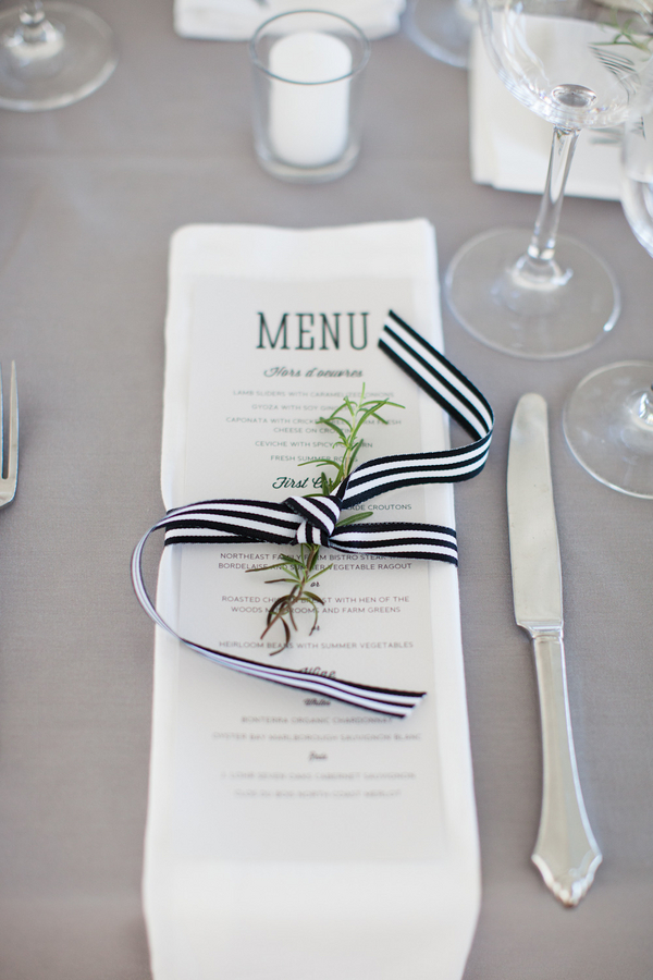 Reception Menu Tied With Black and White Striped Ribbon