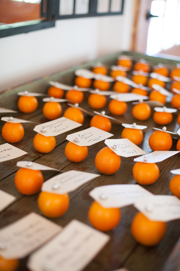 Reception Place Cards Pinned to Clementines