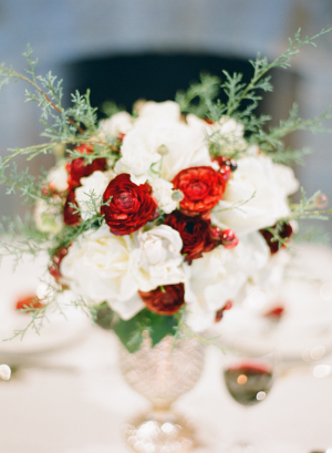 Red and White Flower Arrangement With Rosemary