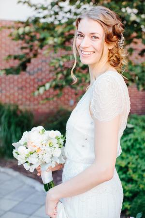 Rhinestone Detailing on Sheer Wedding Gown Sleeve