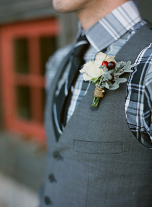 Rose Berry and Dusty Miller Boutonniere