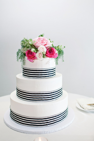 Round Wedding Cake With Pink Flowers and Navy and White Striped Ribbon