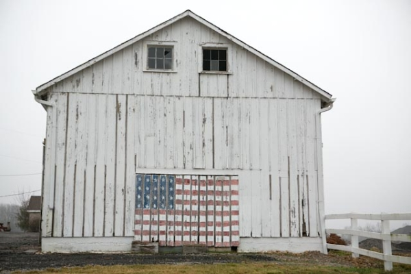Rustic Barn With American Flag Painting