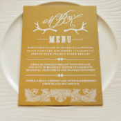 Rustic Elegant Gold Reception Menu Card