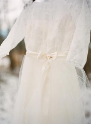 Sheer Lace Dress With Satin Sash