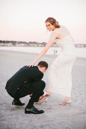 Shimmery Gold Bridal Heels