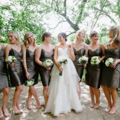Short Dark Gray Spaghetti Strap Bridesmaids Dresses