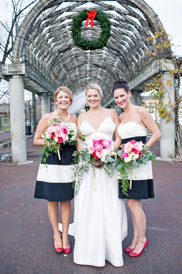Short Navy and White Striped Bridesmaids Dresses
