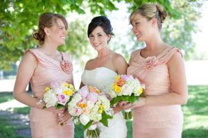 Short Peach Bridesmaids Dresses