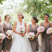 Short V Neck Taupe Bridesmaids Dresses