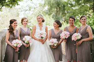 Short V Neck Taupe Bridesmaids Dresses