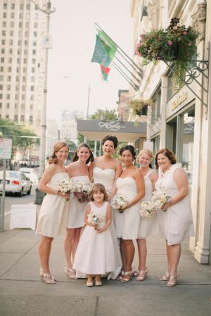 Short White Bridesmaids Dresses