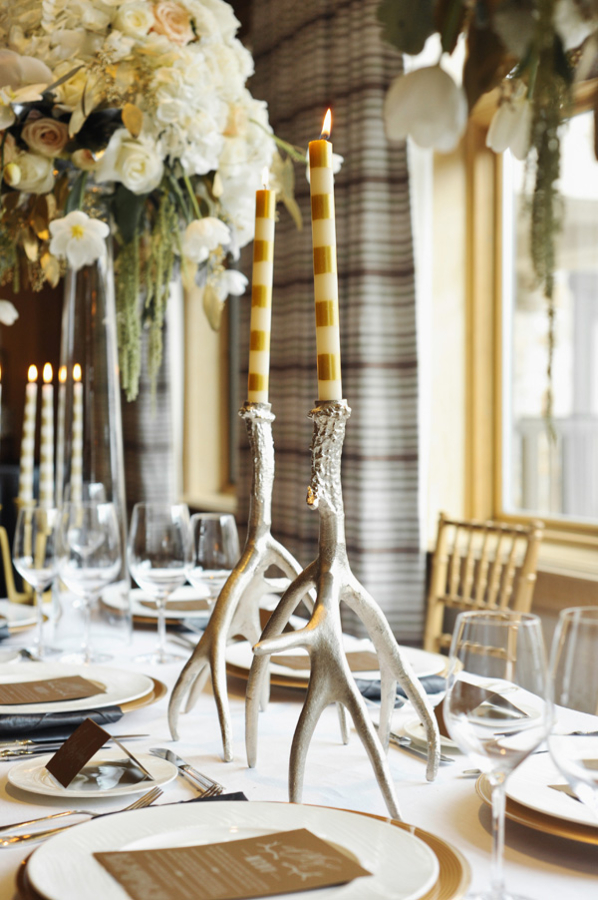 Silver Antler Candlesticks Reception Decor
