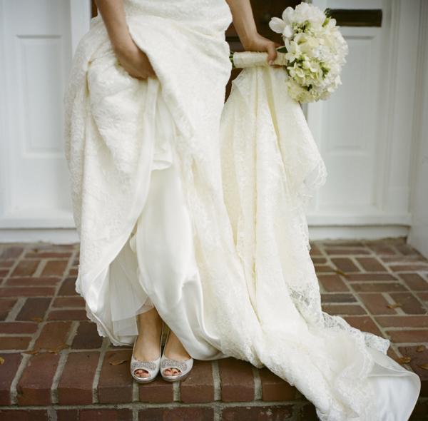 Silver Peep Toe Heels