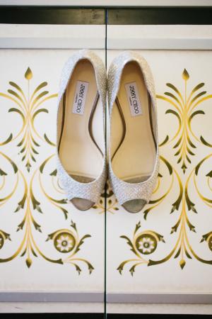 Silver Peep Toe Jimmy Choo Shoes
