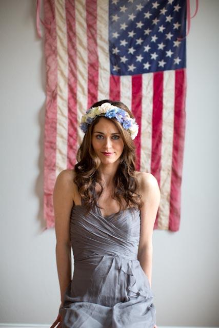 Strapless Blue Silk Bridesmaid Dress