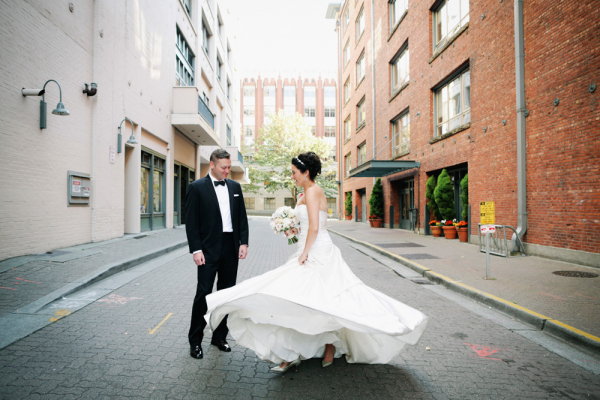Strapless Bridal Gown With Pleated Bodice and Full Skirt