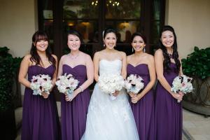 Strapless Purple Bridesmaids Dresses