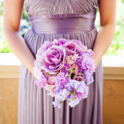 Strapless Purple Satin Bridesmaids Dress