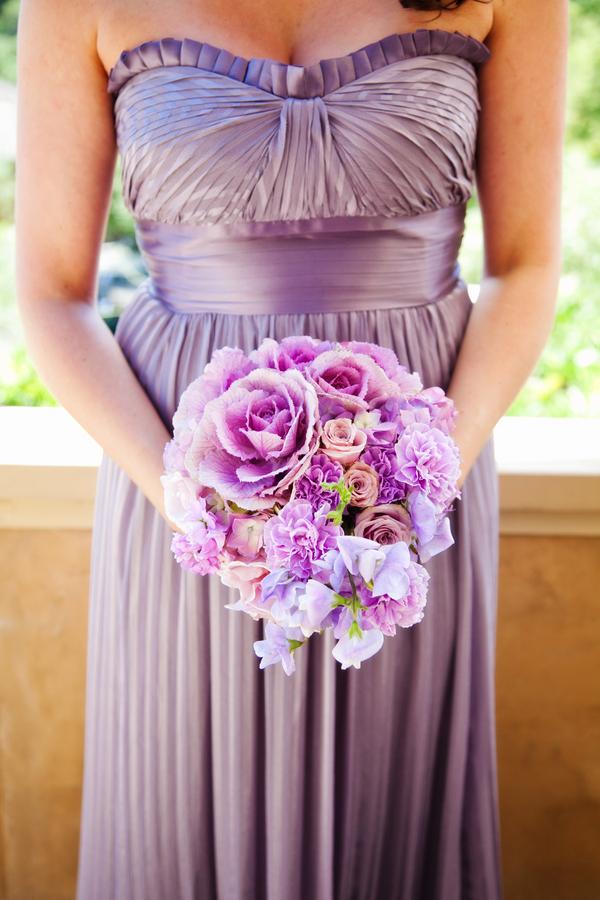 Strapless Purple Satin Bridesmaids Dress