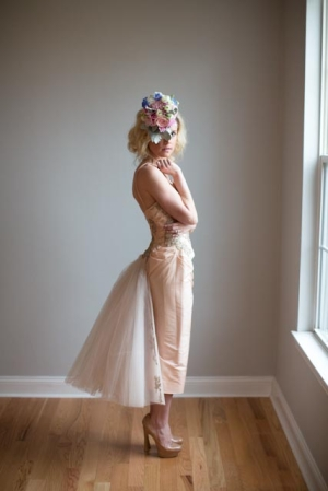 Strapless Vintage Peach Dress With Tulle Skirt
