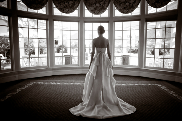 Strapless Wedding Gown With Back Bow Sash