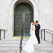 Strapless Wedding Gown With Flared Ruffle Skirt