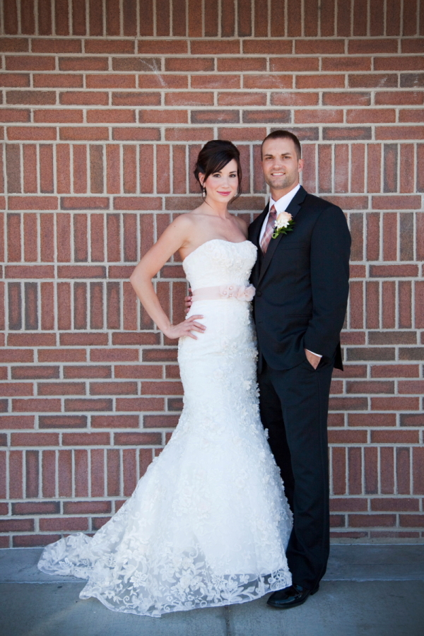 Strapless Wedding Gown With Lace Overlay - Elizabeth Anne Designs ...