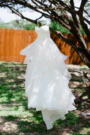 Strapless Wedding Gown With Ruffled Skirt