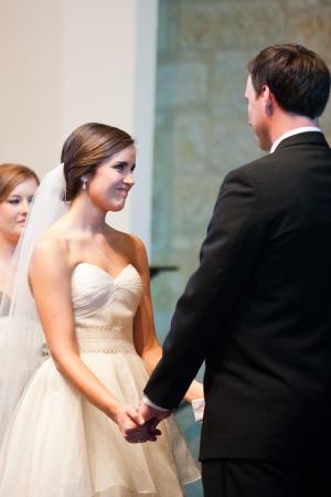 Strapless Wedding Gown With Textured Belt Sash