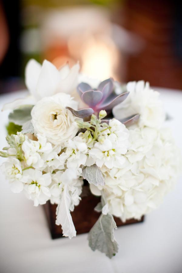 Succulent Rose and Hydrangea Reception Arrangement