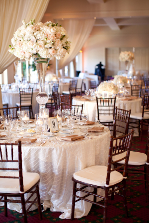 Tall Cream and Blush Reception Floral Arrangements