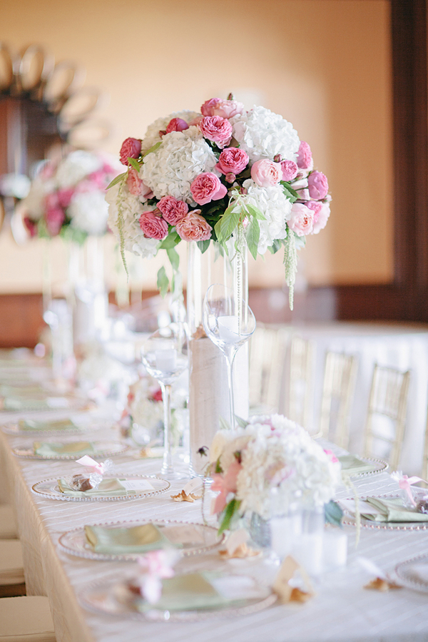 Tall pink and white centerpiece elizabeth anne designs