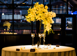 Tall White Rose and Lilly Reception Arrangements