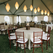 Tent Reception With Chandeliers