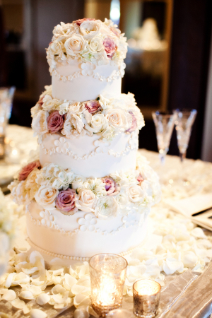 Traditional Wedding Cake With Fresh Roses