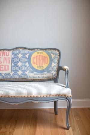 Vintage Flour Sack Upholstered Bench