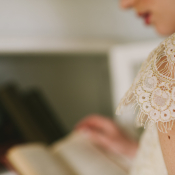 Vintage Lace Sleeve Claire Pettibone Gown