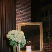 Wedding Cake Table With Hydrangeas