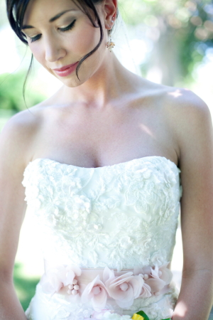 Wedding Gown With Flower Ribbon Sash